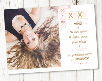 5x7 Valentine Minis Photography Marketing Board - Boudoir Marketing Template - Photoshop Newsletter Template - C031 - instant download