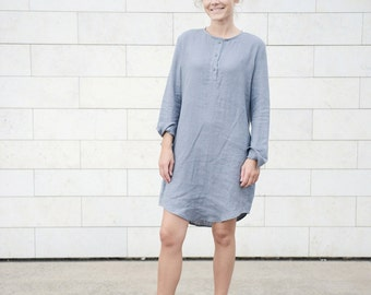 Long Linen Tunica/Dress in different colours. Washed soft linen dress. Women's: shirt, blouse, top.