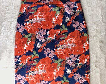 Floral Print Knit Pencil Skirt Size XS, S, M, L, XL