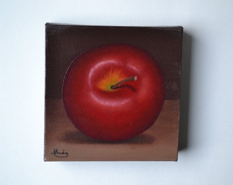 Original 6x6' acrylic red apple painting, small still life painting, kitchen miniature, food painting, fruit painting, fruit art