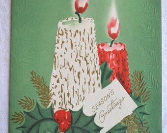 Vintage Christmas Card - Mid Century Candles - Used