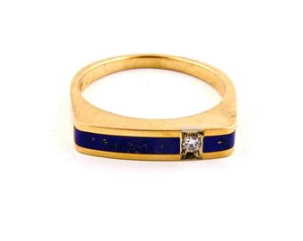Gold Lapis Inlay Ring By Turquoise Kingdom