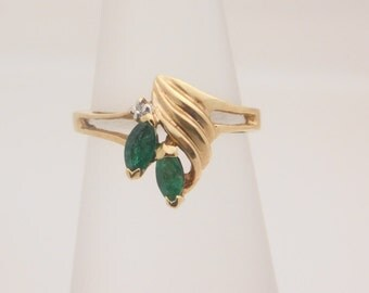 Ladies Marquise Cut Emerald and Diamond Cluster Ring 10K
