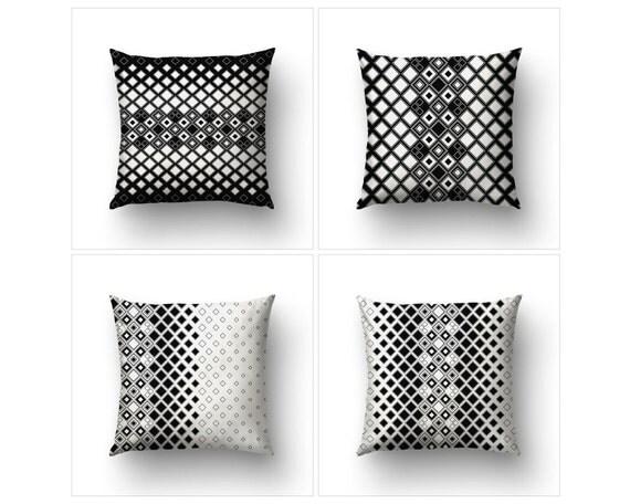 Pillow Set, Art Deco Pillow, Modernist Decor, Geometric Pillows, 4 Pillow Covers, Black And White, Home Decorating