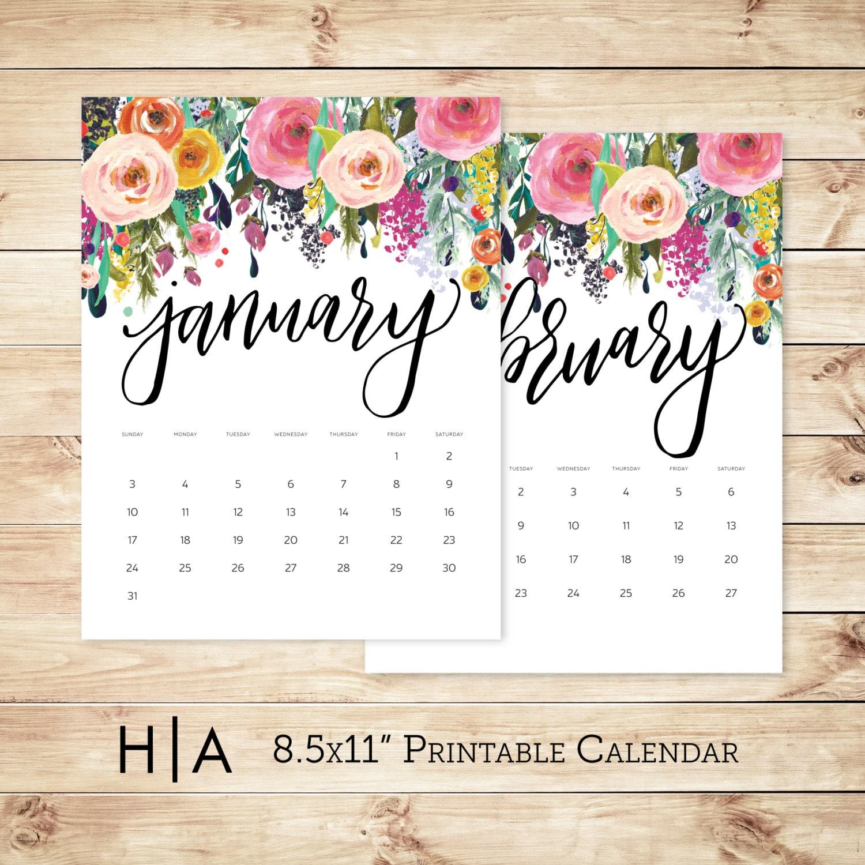 Calendar Design Letters : Printable calendar wall hand