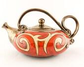 Red Ceramic teapot 40oz, Stoneware Teapot, Pottery tea pot, handmade teapot Ceramics and pottery Tea set, Christmas Gift Birthday metallic T