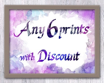 Any 6 prints Make your own set, Choose your prints, Print set with discount, Poster set, Custom set, set of 6, art set poster pack
