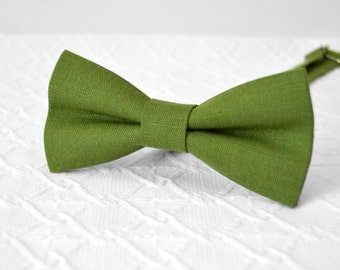 Moss green bow tie, green bow tie, linen bow tie, wedding bow tie, mens bow tie, bow tie for men, groomsmen bow tie