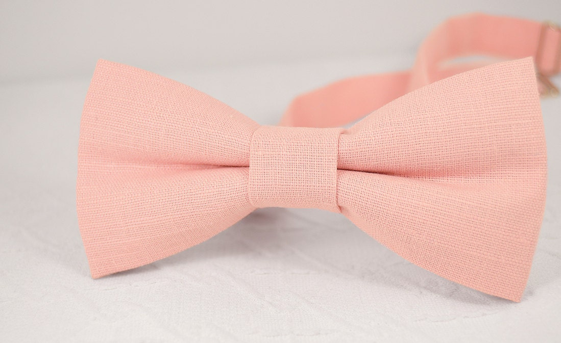 blush pink bow tie light pink bow tie wedding linen bow tie