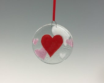 Heart Ornament Fused Glass Hearts