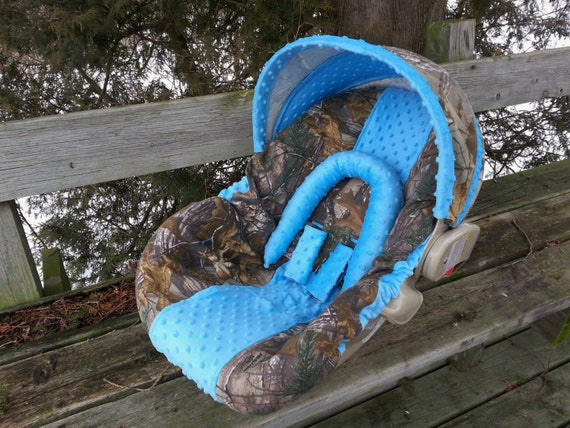 Camo Infant Car Seat Cover Realtree Fabric And Turquoise Blue