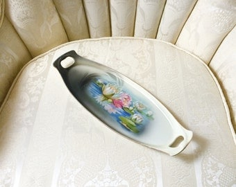 R.S. Germany Lily Pond and Water Lily Blossoms Handled Oval Dresser Tray - VERY RARE!!!