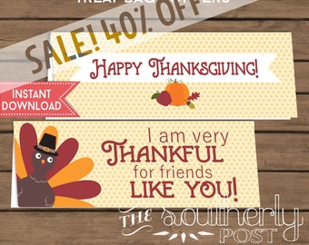 SALE! INSTANT DOWNLOAD - Thanksgiving - Thankful for Friends - Treat Bag Topper - Gift Tag - Goodie Bag - Printable - Sandwich or Snack Bag