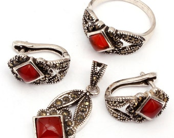 Free Shipping Red Agate Antiqued Tibeten Silver Ring Earrings Pendant Jewelry Sets Kit