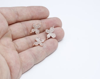 1 Pcs Micro Pave Butterfly, 12x19mm , Cubic Zirconia Butterfly , Rose Gold Butterfly, Bracelet Connector, zrcn573