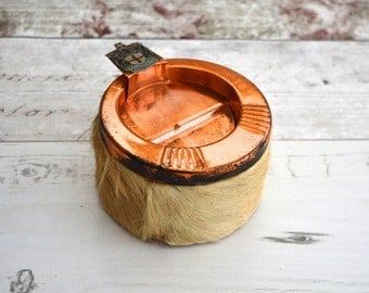 Fur and Copper Ashtray from East London Vintage Tobacciana Vintage Smoking Vintage Home Decor