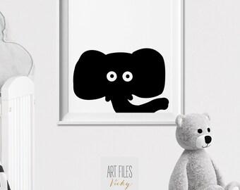 Elephant Nursery print, Safari animal art print, Peekaboo animal, Minimal, Black and White, Kids room, Wall art, Nursery Decor,ArtFilesVicky