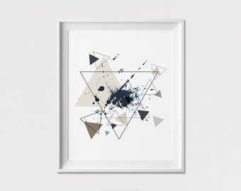 Geometric art print, poster, wall art, Triangle art poster, Minimal, Abstract print, Home Decor, Wall Decor, Gift, ArtFilesVicky