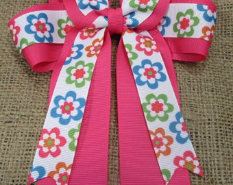 Retro Flower Four Loops Tails Down Hair Bow, Cheer Bow