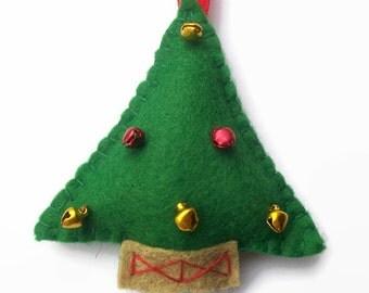Decorated Christmas Tree, Hanging Tree, Felt Christmas Tree Decoration, Tree Ornaments