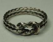 Twisted Love Knot Ring Sterling Silver. Plain or Patinaed.
