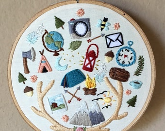 """Camping & outdoors theme hand embroidery hoop art. 5"""" hoop. Home decor."""