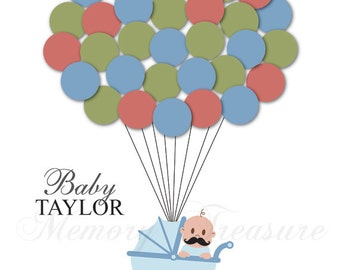 Little Man Baby Shower Guest Book Alternative Mustache Baby Shower Guest Sign In Ideas Stroller Balloons Poster Print Guest Sign Personalize