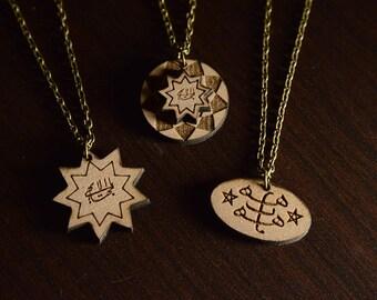3 Bahai necklace/ Baha'i greatest name necklace/ bahai gift/Bahai wooden unique necklace/ 9 Star bahai necklace