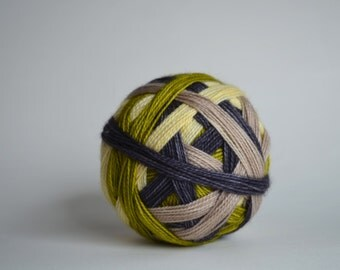 "Dyed to Order: ""Street Smarts (4 color Self-striping)"" - Green, gray, pale yellow, beige stripes"