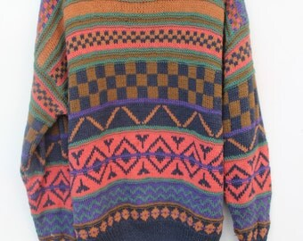 Vintage Oversized Chunky Knit Sweater / Hand Knitted Rayon & Cotton /MEDIUM/ Nordic Striped Pullover Jumper / Chevron / Paolo Conti