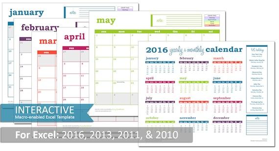 2016 deluxe event calendar interactive excel calendar With interactive excel calendar template