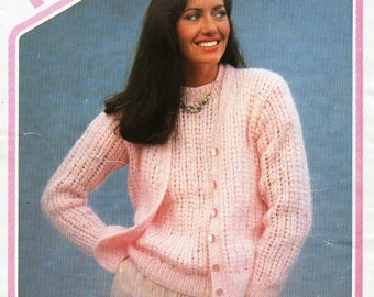 """womens mohair twin set Knitting pattern ladies mohair  sweater cardigan 32-40""""mohair chunky bulky 12ply womens knitting pattern pdf download"""