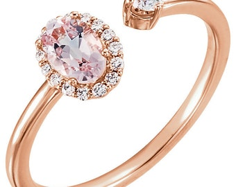 14k Rose Gold Natural  Morganite & 1/6 CTW Diamond Halo Negative Space Ring, Set with 1 qty 6 x 4 mm Oval Faceted Morganite