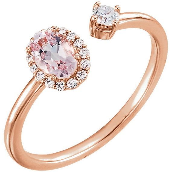 14k Rose Gold Natural Morganite & 1/6 CTW Diamond Halo