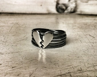 Broken Heart ring - Solid sterling silver 925 heart Ring - black oxidized heart Ring