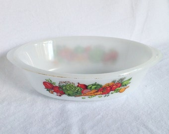 CLEARANCE!  GLASBAKE Vegetable CASSEROLE Baking Dish 1QT #J235  Vintage Bakeware Ovenware Kitchenware