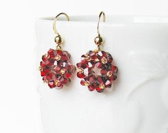 Wreath Earrings, Siam Red Drop Earrings, Swarovski Crystal Earrings, Beaded Dangle Earrings, Holiday Jewelry, Everyday Jewelry, Wreath E#003