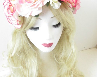 Large Pink Cream Ivory Rose Flower Headband Garland Vintage Festival Big Boho Hair Crown Ibiza P85
