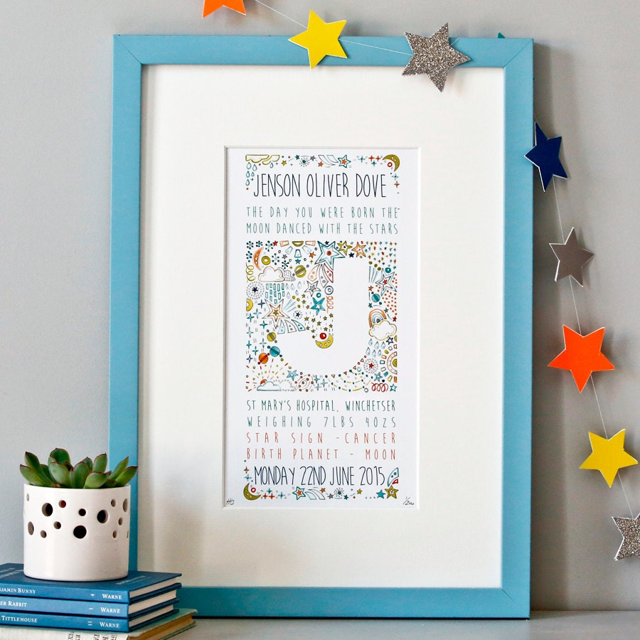 Bespoke Baby Gifts Australia : Birth announcement stars print personalised new baby gift
