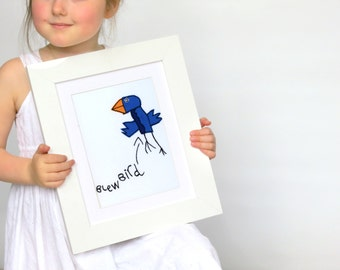Your Childrens Drawing Embroidered - Cool fathers day gifts from daughter - Your child's art - Embroidered art - Child's drawing keepsake