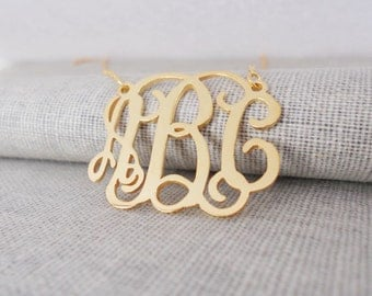 Gold Monogram Necklace,Gold Monogrammed Initial Necklace,Celebrity 3 initials Monogram Necklace,Nameplate Necklace Gold,Mother's Day Gift