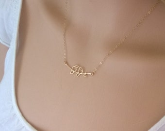 Gold filled lovebird necklace; two bird necklace; pretty birds on a branch necklace