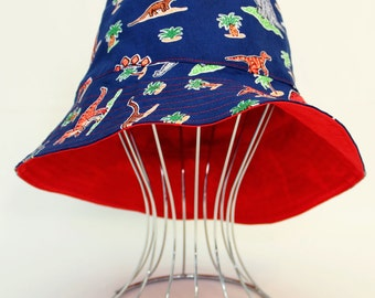 "Reversible Babies Bucket Hat - ""ROAR Dinosaur"" with red, made to order, sunhat, babies hat"