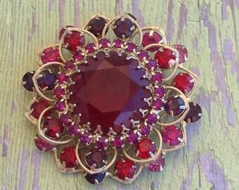 Vintage large pink and ruby brooch