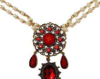 Anne Boleyn Necklace, Boleyn Necklace, Red Renaissance Necklace, Renaissance Necklace, Red Anne Boleyn Necklace