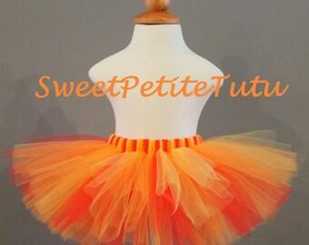 Red yellow orange tutu, Preemie, Newborn to 14/16 Teen, Baby Tutu, Birthday tutu, multi color tutu, Sweet Petite Tutu