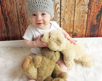 Chunky Bear Crochet Hat, Made with or without bow, Baby Bear Hat, Adult Bear Hat, Animal Crochet Hat