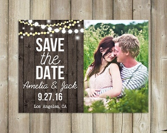 SAVE THE DATE - Wedding Announcement Invitation - Rustic - Wood Background - String Lights - Digital File