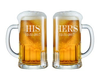 Personalized His Hers Beer Mugs -  12oz. / Wedding Glasses / Custom Engraved / Etched / Wedding Gifts / Set of 2 / 48 Fonts / Add Your Da