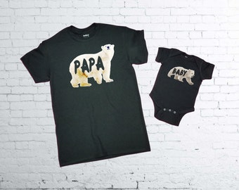 Papa Polar Bear T-shirt. Baby Polar Bear baby body suit. Father and Son T-shirts.